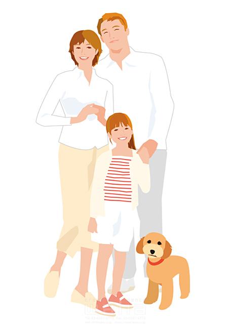 イラスト&写真のストックフォトwaha(ワーハ) 人、人々、女性、男性、大人、家族、お父さん、お母さん、奥さん、親子、子供、女の子、小学生、屋外、リラックス、笑顔、記念写真、犬、ペット、絆、繋がり、生活、日常、暮らし 都筑 みなみ 19-2513cv