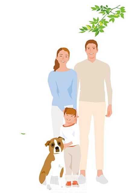 イラスト&写真のストックフォトwaha(ワーハ) 人、人々、女性、男性、大人、家族、お父さん、お母さん、奥さん、親子、子供、女の子、小学生、屋外、リラックス、笑顔、記念写真、犬、ペット、絆、繋がり、生活、日常、暮らし 都筑 みなみ 19-2514cv