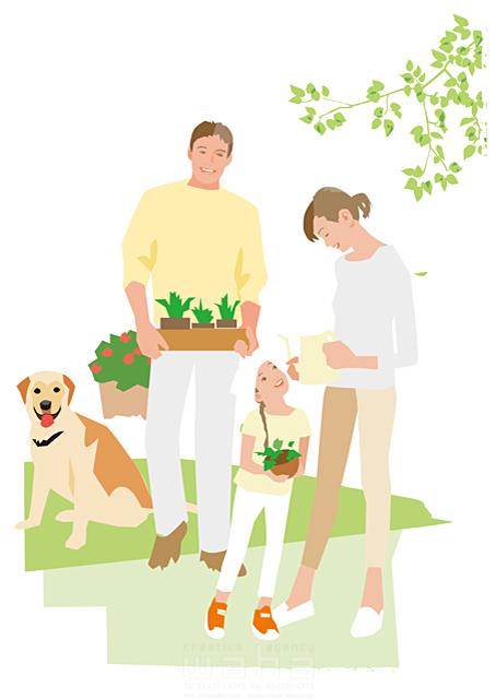 イラスト&写真のストックフォトwaha(ワーハ) 人、人々、女性、男性、大人、家族、お父さん、お母さん、奥さん、親子、子供、女の子、小学生、家、住宅、庭、ガーデニング、ガーデンライフ、犬、ペット、憩い、安らぎ、癒やし、笑顔、自然、植物、生活、日常、暮らし 都筑 みなみ 19-2516cv