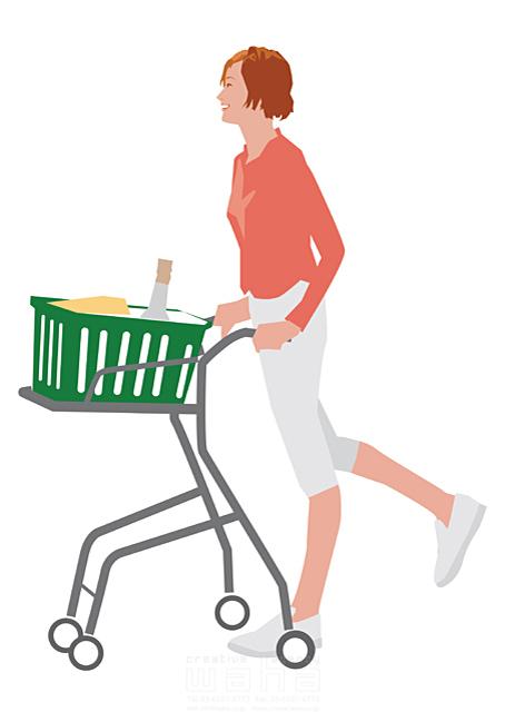 イラスト&写真のストックフォトwaha(ワーハ) 人、女性、大人、お母さん、奥さん、主婦、家事、買い物、店、スーパーマーケット、食材、ショッピング、笑顔、楽しい、生活、日常、暮らし 都筑 みなみ 19-2517bv