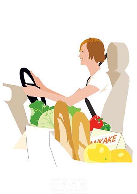 イラスト&写真のストックフォトwaha(ワーハ) 人、女性、大人、お母さん、奥さん、主婦、家事、買い物、食材、ショッピング、車、ドライブ、カーライフ、笑顔、楽しい、生活、日常、暮らし 都筑 みなみ 19-2518cv