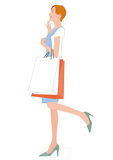 イラスト&写真のストックフォトwaha(ワーハ) 人、女性、大人、お母さん、奥さん、主婦、買い物、店、ショッピング、笑顔、楽しい、生活、日常、暮らし、街、お出かけ、おしゃれ 都筑 みなみ 19-2519bv
