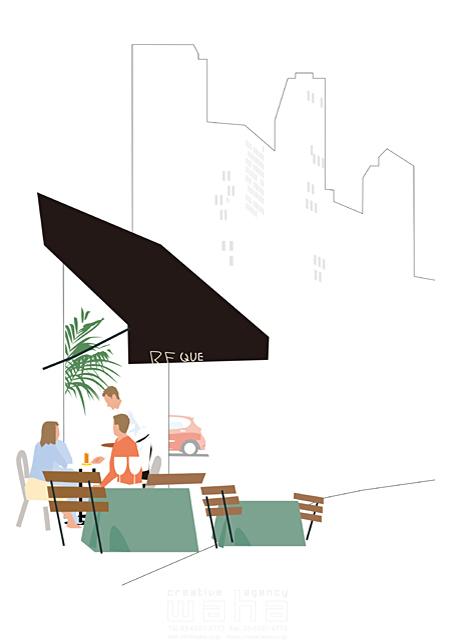 イラスト&写真のストックフォトwaha(ワーハ) 人、人々、女性、男性、大人、複数、カフェ、レストラン、食事、憩い、安らぎ、街、街並み、ビル、建物、都会、都市、生活、日常、暮らし 都筑 みなみ 19-2520bv