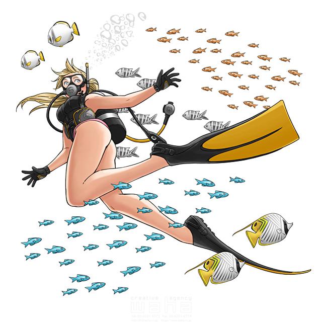 イラスト&写真のストックフォトwaha(ワーハ) 人、女性、スキューバ、ダイビング、水着、魚、海、自然、水、マリンスポーツ、楽しい、クール、アニメ、マンガ、コミック、アメコミ、ポップ、キャラクター 田中 梓 19-2525b
