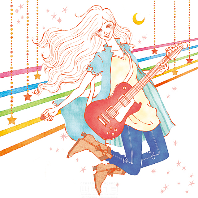 19-2538b 茅根 美代子 人、女性、大人、若者、音楽、ギター、バンド、ジャンプ、元気、明るい