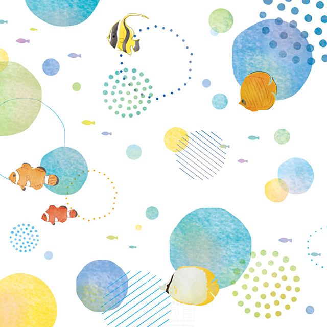 イラスト&写真のストックフォトwaha(ワーハ) 自然、海、魚、生き物、夏、ファンタジー、花火 茅根 美代子 19-2542b