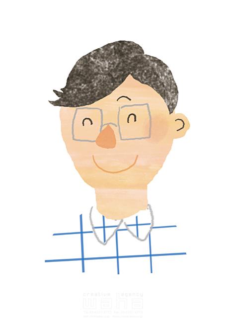 イラスト&写真のストックフォトwaha(ワーハ) 人、男性、大人、若者、笑顔、バストアップ、夢、希望、楽しい、元気、明るい、髪型、おしゃれ、メガネ、外国人、生活、暮らし chihiro 19-2553b