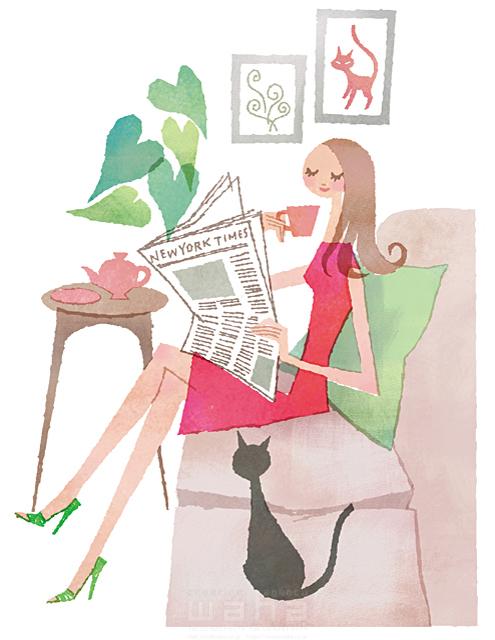 イラスト&写真のストックフォトwaha(ワーハ) 人、女性、大人、若者、奥さん、主婦、笑顔、家、住宅、リビング、部屋、リラックス、くつろぐ、憩い、安らぎ、休む、座る、コーヒー、新聞、インテリア、ソファ、猫、ペット、ハート、生活、暮らし、日常、やわらかい 前田 まみ 19-2564b
