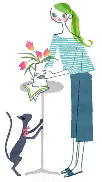 イラスト&写真のストックフォトwaha(ワーハ) 人、女性、大人、若者、奥さん、主婦、笑顔、家、住宅、リビング、部屋、憩い、インテリア、花瓶、花、猫、ペット、生活、暮らし、日常、やわらかい 前田 まみ 19-2568b