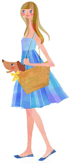 イラスト&写真のストックフォトwaha(ワーハ) 人、女性、大人、若者、笑顔、ファッション、爽やか、おしゃれ、お出かけ、歩く、散歩、犬、ペット、愛情、絆、季節、夏、生活、暮らし、日常、やわらかい 前田 まみ 19-2570b