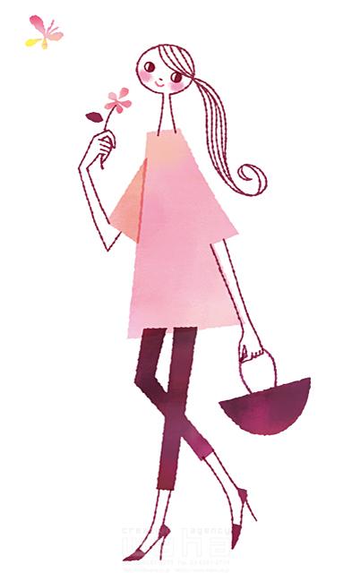 イラスト&写真のストックフォトwaha(ワーハ) 人、女性、大人、若者、笑顔、ファッション、おしゃれ、お出かけ、バッグ、歩く、散歩、花、季節、春、蝶、生活、暮らし、日常、やわらかい 前田 まみ 19-2571b