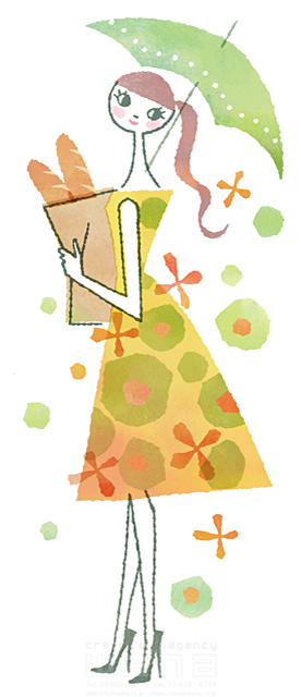 イラスト&写真のストックフォトwaha(ワーハ) 人、女性、大人、若者、笑顔、ファッション、おしゃれ、お出かけ、歩く、散歩、傘、雨、買い物、ショッピング、パン、生活、暮らし、日常、やわらかい 前田 まみ 19-2572b