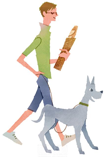イラスト&写真のストックフォトwaha(ワーハ) 人、男性、大人、若者、笑顔、ファッション、おしゃれ、お出かけ、歩く、散歩、買い物、ショッピング、パン、犬、ペット、絆、生活、暮らし、日常、やわらかい 前田 まみ 19-2573b