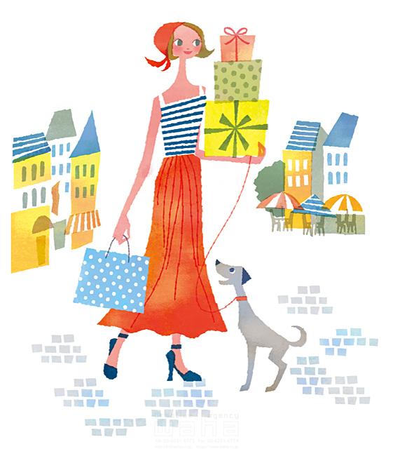 イラスト&写真のストックフォトwaha(ワーハ) 人、女性、大人、若者、笑顔、ファッション、おしゃれ、お出かけ、歩く、散歩、買い物、ショッピング、街、町並み、カフェ、店、犬、ペット、絆、生活、暮らし、日常、爽やか、やわらかい 前田 まみ 19-2574b