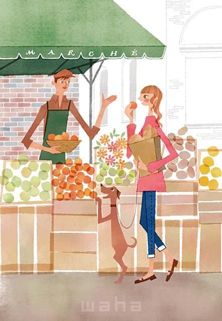 イラスト&写真のストックフォトwaha(ワーハ) 人、人々、複数、女性、男性、大人、若者、笑顔、おしゃれ、お出かけ、歩く、散歩、買い物、ショッピング、街、町並み、市場、店、果物、野菜、犬、ペット、絆、生活、暮らし、日常、やわらかい 前田 まみ 19-2577c