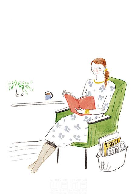 イラスト&写真のストックフォトwaha(ワーハ) 水彩、人、女性、大人、若者、主婦、お母さん、家、住宅、部屋、リビング、ソファ、ファッション、洋服、本、読書、憩い、安らぎ、生活、暮らし、日常、オシャレ、室内 わたなべ さちこ 19-2585b