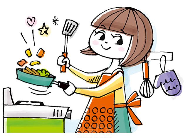イラスト&写真のストックフォトwaha(ワーハ) 人、女性、大人、お母さん、主婦、笑顔、料理、食事、家、住宅、キッチン、部屋、室内、フライパン、生活、日常、暮らし、楽しい、愛情、キャラクター 今瀬 のりお 19-2589b