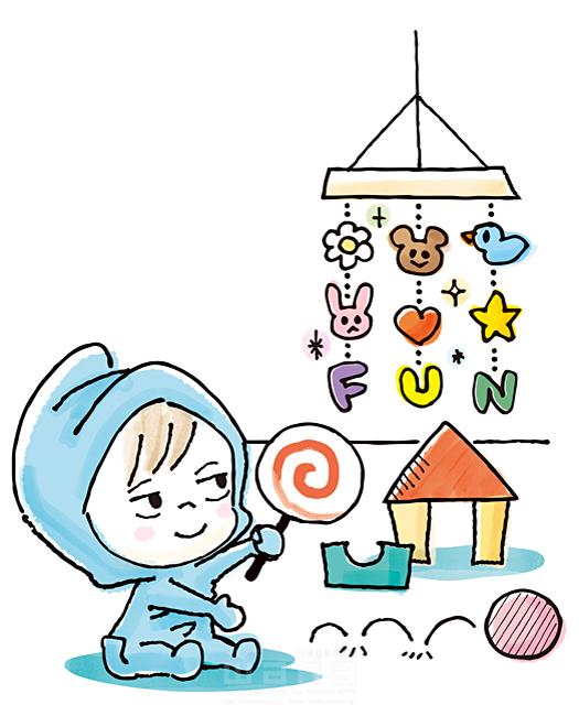 イラスト&写真のストックフォトwaha(ワーハ) 人、子供、赤ちゃん、部屋、積み木、おもちゃ、キャンディー、遊ぶ、楽しい、生活、日常、暮らし、メリー、元気、笑顔、キャラクター 今瀬 のりお 19-2590b