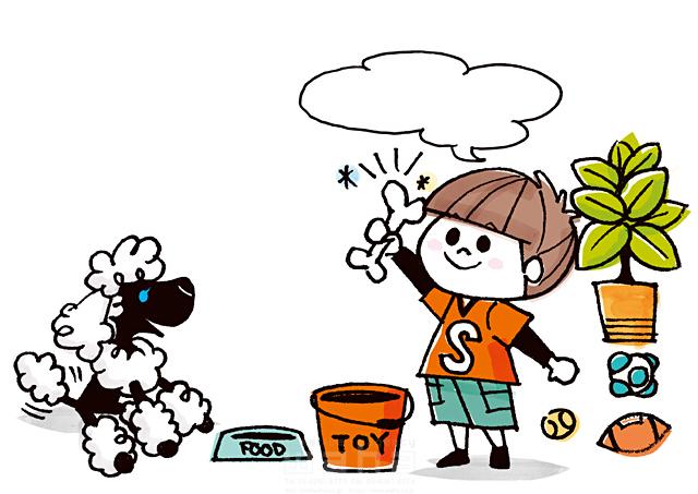 19-2591b 今瀬 のりお 人、男性、子供、小学生、男の子、遊ぶ、おもちゃ、犬、プードル、ペット
