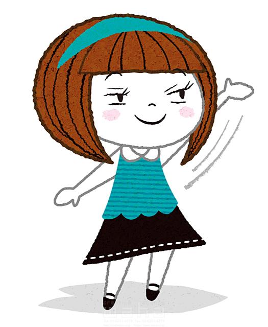 イラスト&写真のストックフォトwaha(ワーハ) 人、女性、子供、小学生、女の子、手を挙げる、案内、コミュニケーション、笑顔、元気、キャラクター 今瀬 のりお 19-2593b