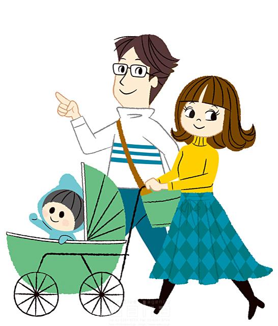イラスト&写真のストックフォトwaha(ワーハ) 人、人々、複数、女性、男性、家族、大人、お父さん、お母さん、夫婦、親子、赤ちゃん、子供、ベビーカー、歩く、笑顔、散歩、お出かけ、楽しい、キャラクター、生活、暮らし、日常、屋外、愛情、絆 今瀬 のりお 19-2594b