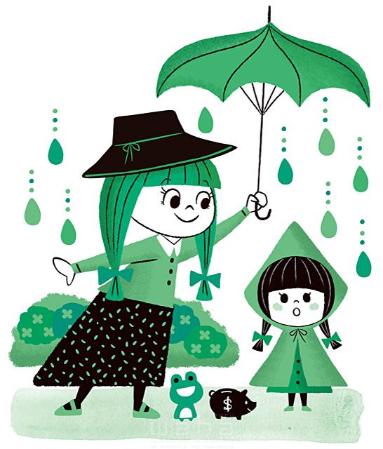イラスト&写真のストックフォトwaha(ワーハ) 人、人々、複数、女性、大人、若者、子供、女の子、雨、傘、カエル、絆、愛情、キャラクター、生活、日常、暮らし、屋外、キャラクター 今瀬 のりお 19-2595b