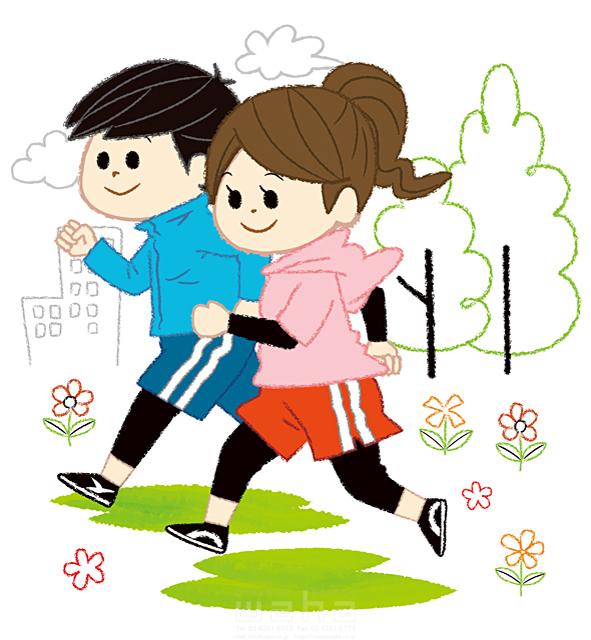 イラスト&写真のストックフォトwaha(ワーハ) 人、人々、複数、女性、男性、大人、若者、カップル、夫婦、走る、ランニング、ジョギング、スポーツ、運動、楽しい、屋外、生活、暮らし、日常、キャラクター、楽しい、町、公園、自然、花 今瀬 のりお 19-2598b