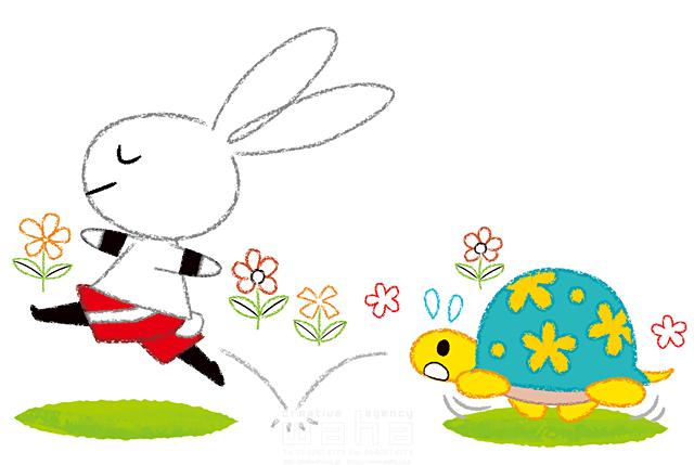 19-2606b 今瀬 のりお 生き物、動物、複数、ウサギ、カメ、ファンタジー、メルヘン、走る、ランニング、ジョギング