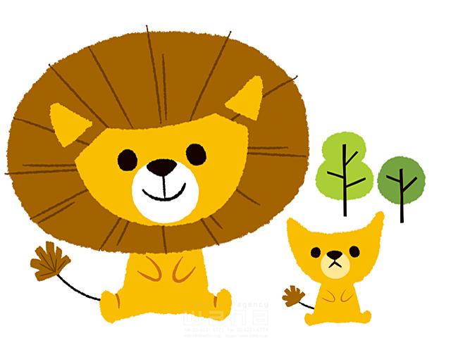 イラスト&写真のストックフォトwaha(ワーハ) 生き物、動物、複数、ライオン、親子、笑顔、座る、可愛い、屋外、キャラクター、自然、木、絆、愛情 今瀬 のりお 19-2607b