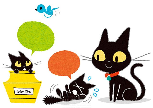 イラスト&写真のストックフォトwaha(ワーハ) 生き物、動物、複数、猫、ネコ、家族、親子、笑顔、座る、可愛い、キャラクター、絆、愛情、吹き出し、コミュニケーション 今瀬 のりお 19-2608b