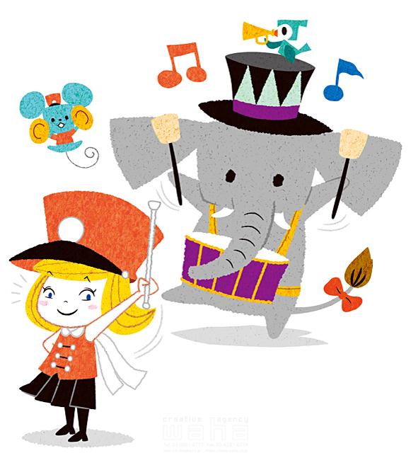 イラスト&写真のストックフォトwaha(ワーハ) 人、女性、子供、女の子、サーカス、ショー、マーチ、行進、バンド、鼓笛、制服、楽しい、ファンタジー、キャラクター、笑顔、象、鳥、ネズミ、音楽、賑やか 今瀬 のりお 19-2611b