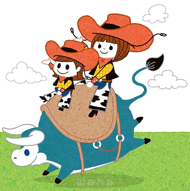 イラスト&写真のストックフォトwaha(ワーハ) 人、人々、複数、大人、子供、家族、親子、カウボーイ、カウガール、ロデオ、ウエスタン、牛、動物、草原、笑顔、キャラクター、可愛い、楽しい、元気 今瀬 のりお 19-2612b