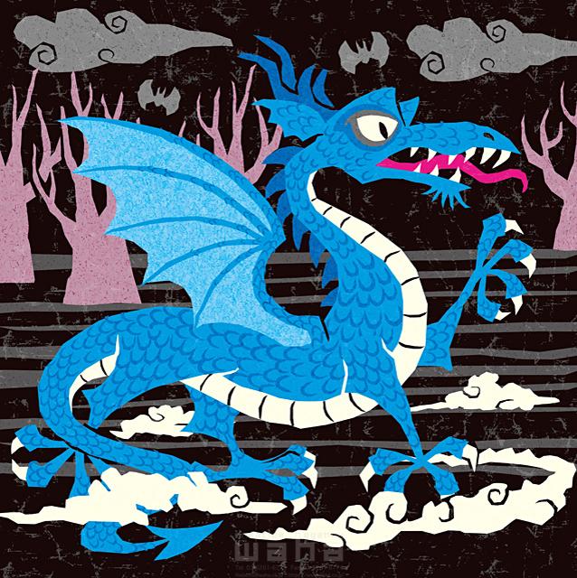 イラスト&写真のストックフォトwaha(ワーハ) ドラゴン、西洋、生き物、ファンタジー、メルヘン、キャラクター、決闘、中世ヨーロッパ、恐い、カッコイイ 今瀬 のりお 19-2616b