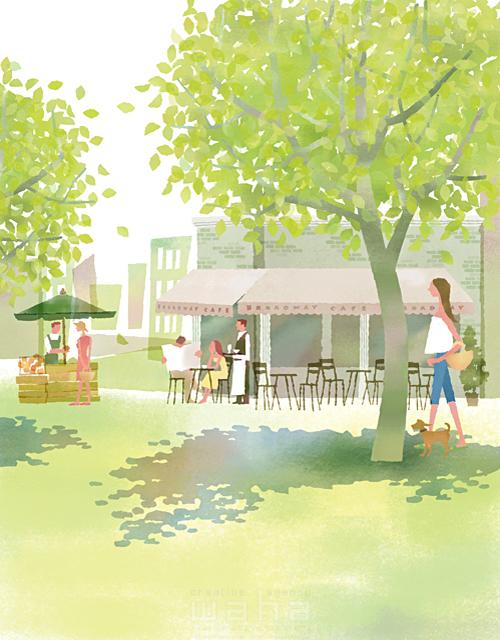 イラスト&写真のストックフォトwaha(ワーハ) 人、人々、街並み、建物、カフェ、レストラン、広場、公園、自然、木、日影、植物、マルシェ、生活、暮らし、日常、散歩、憩い、安らぎ、買い物、のんびり、和やか、のどか、夏 前田 まみ 19-2617cv