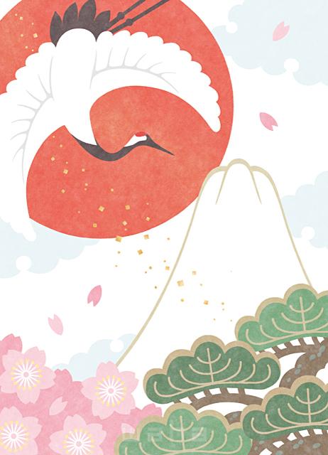イラスト&写真のストックフォトwaha(ワーハ) 日本、和風、正月、お祝い、めでたい、富士山、鶴、鳥、縁起物、梅、桜、花、元旦、元日、年賀状、福、幸せ、平和、開運、豪華、派手 高村 かい 19-2620b