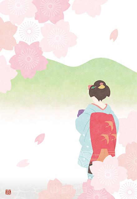 イラスト&写真のストックフォトwaha(ワーハ) 人、女性、大人、舞妓、芸者、和服、着物、日本、和風、桜、花、春、自然、風景、歴史、平和 高村 かい 19-2621b