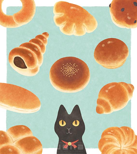 イラスト&写真のストックフォトwaha(ワーハ) 動物、生き物、黒猫、パン、食べ物、食事、料理、キッチン、お菓子、スイーツ 高村 かい 19-2624b
