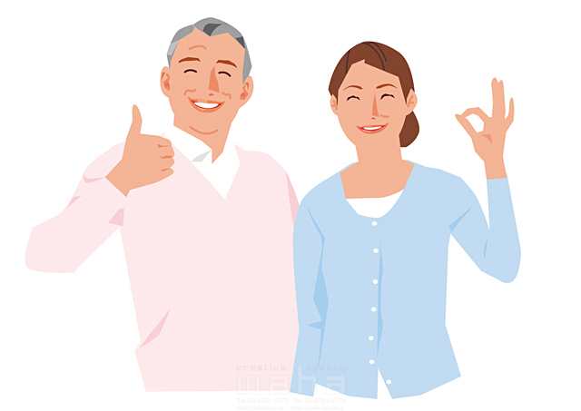 イラスト&写真のストックフォトwaha(ワーハ) 人、人々、複数、女性、男性、大人、老夫婦、中高年、主婦、奥さん、カップル、家族、シニア、笑顔、コミュニケーション、会話、喜ぶ、嬉しい、賛成、いいね、グッドジョブ、OK 都筑 みなみ 19-2633b