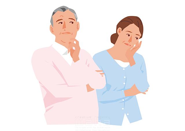 イラスト&写真のストックフォトwaha(ワーハ) 人、人々、複数、女性、男性、大人、老夫婦、中高年、主婦、奥さん、カップル、家族、シニア、コミュニケーション、会話、悩む、考える、困る、残念、腕を組� 都筑 みなみ 19-2635b