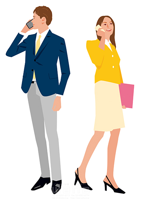 イラスト&写真のストックフォトwaha(ワーハ)―カンプデータは無料 人、人々、複数、女性、男性、大人、若者、20代、30代、コミュニケーション、会話、笑顔、ビジネス、仕事、ビジネスマン、ビジネスウーマン、スーツ、全身、キャリアウーマン、働く人、携帯電話、スマートフォン、スマホ、IT、社会人、会社、爽やか 都筑 みなみ 19-2651c