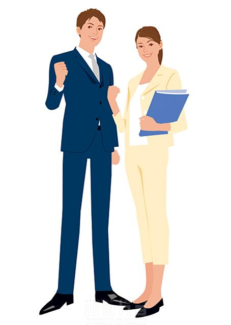 イラスト&写真のストックフォトwaha(ワーハ) 人、人々、複数、女性、男性、大人、若者、20代、30代、コミュニケーション、笑顔、ビジネス、仕事、ビジネスマン、ビジネスウーマン、スーツ、全身、キャリアウーマン、働く人、パワフル、ガッツポーズ、やる気、フレッシュ、社会人、会社、爽やか 都筑 みなみ 19-2652c