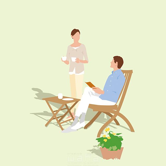 イラスト&写真のストックフォトwaha(ワーハ) 人、人々、複数、女性、男性、大人、夫婦、カップル、主婦、奥さん、家族、コミュニケーション、会話、休憩、憩い、安らぎ、休日、家、庭、テラス、屋外、コーヒー、読書、本、リラックス、生活、日常、暮らし 都筑 みなみ 19-2654c