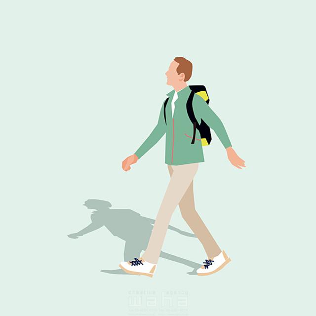 イラスト&写真のストックフォトwaha(ワーハ) 人、男性、大人、父親、お父さん、中高年、散歩、お出かけ、リュック、ハイキング、歩く、道、旅行、レジャー、観光、屋外、生活、日常、暮らし 都筑 みなみ 19-2655b