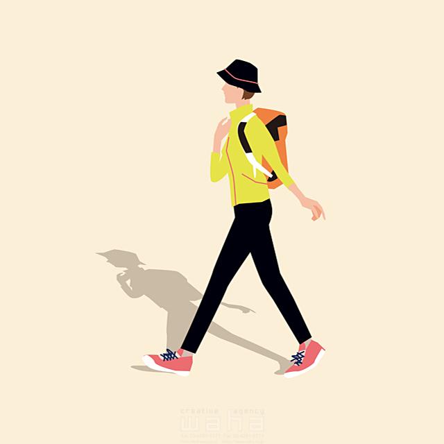 イラスト&写真のストックフォトwaha(ワーハ) 人、女性、大人、母親、お母さん、主婦、奥さん、散歩、お出かけ、リュック、ハイキング、歩く、道、旅行、レジャー、観光、屋外、登山、生活、日常、暮らし 都筑 みなみ 19-2657b