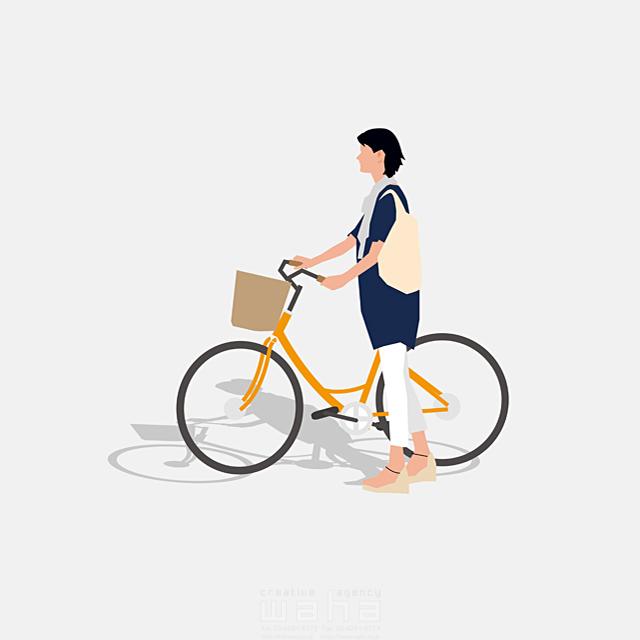 イラスト&写真のストックフォトwaha(ワーハ) 人、女性、大人、母親、お母さん、主婦、奥さん、サイクリング、お出かけ、バッグ、自転車、道、買い物、ショッピング、屋外、生活、日常、暮らし 都筑 みなみ 19-2658b