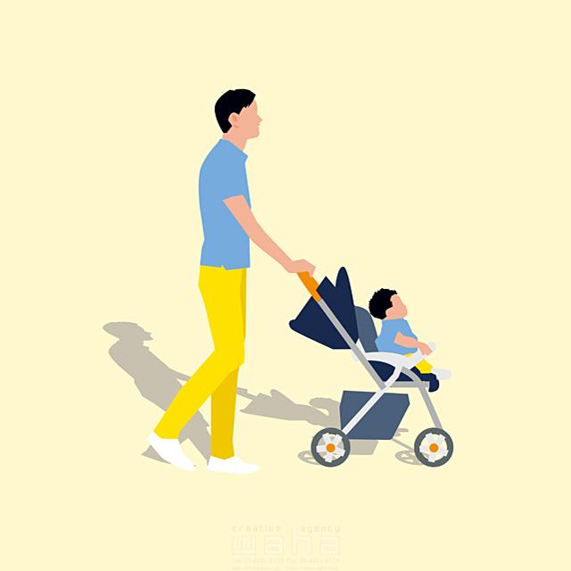 イラスト&写真のストックフォトwaha(ワーハ) 人、人々、複数、男性、大人、父親、お父さん、家族、親子、子供、男の子、子育て、散歩、お出かけ、歩く、道、ベビーカー、屋外、生活、日常、暮らし 都筑 みなみ 19-2659b