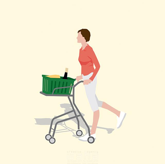 イラスト&写真のストックフォトwaha(ワーハ) 人、女性、大人、母親、お母さん、主婦、奥さん、お出かけ、買い物、ショッピング、スーパー、ショッピングカート、生活、日常、暮らし 都筑 みなみ 19-2660b