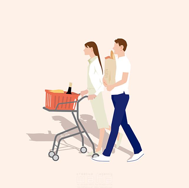 イラスト&写真のストックフォトwaha(ワーハ) 人、人々、複数、女性、男性、大人、母親、お母さん、主婦、奥さん、父親、お父さん、夫婦、カップル、お出かけ、買い物、ショッピング、スーパー、ショッピングカート、会話、コミュニケーション、生活、日常、暮らし 都筑 みなみ 19-2661c