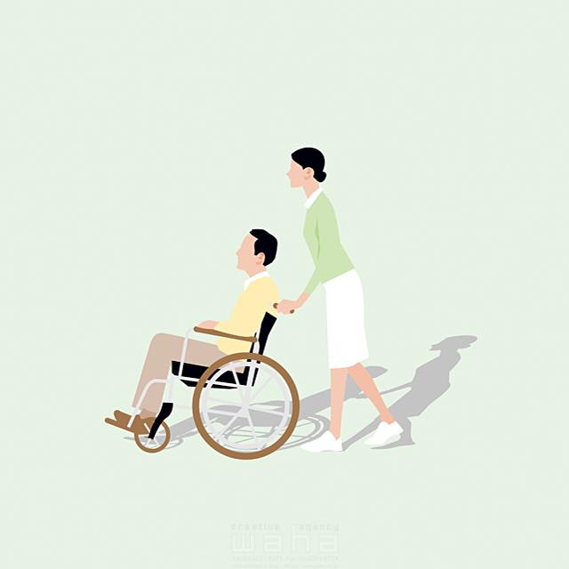 イラスト&写真のストックフォトwaha(ワーハ) 人、人々、複数、女性、男性、大人、中高年、夫婦、ナース、看護師、患者、車いす、病院、医療、介護、健康、福祉、リハビリ、会話、コミュニケーション、散歩、歩く、生活、日常、暮らし 都筑 みなみ 19-2663c