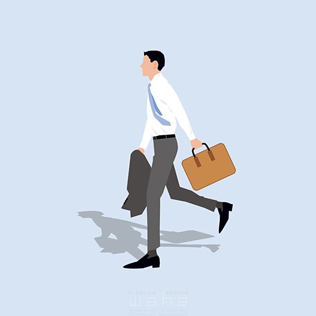 イラスト&写真のストックフォトwaha(ワーハ) 人、男性、大人、若者、20代、30代、ビジネス、仕事、ビジネスマン、サラリーマン、スーツ、ネクタイ、全身、働く人、パワフル、歩く、走る、道、営業、やる気、フレッシュ、社会人、会社、スマート、爽やか 都筑 みなみ 19-2665b